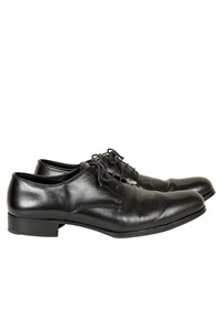 Miu Miu Black Leather Lace-Up Derby Shoes
