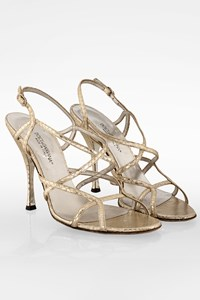 Dolce & Gabbana Gold Snakeskin Strappy Sandals / Size: 38 - Fit: True to size