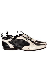 Prada Monochrome Perforated Leather Shoes