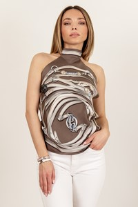 Gucci Brown-White Silk Printed Halterneck Top / Size: ? - Fit: One size