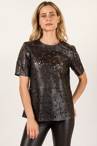 Burberry London Black Leather Broderie Anglaise Cut-Out Blouse / Size: 12UK - Fit: M