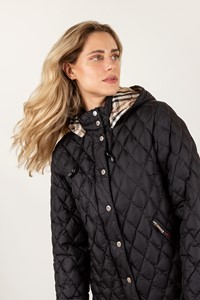 Burberry London Black Quilted Jacket with Removable Hood / Size: 42 IT - Fit: S