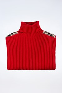 Burberry London Red Wool Knitted Sweater with Check Print Details / Size: M - Fit: S / M