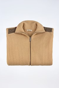 Burberry London Beige Knitted Wool Cardigan with Check Printed Details / Size: ? - Fit: S