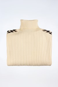 Burberry London Ecru Wool Knitted Sweater with Check Print Details / Size: L - Fit: M