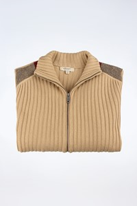 Burberry London Beige Knitted Wool Cardigan with Check Printed Details / Size: M - Fit: S / M