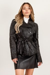 Burberry London Black Quilted Leather Jacket / Size: ? - Fit: XS / S
