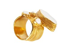 YSL White Enameled  Roman Ring