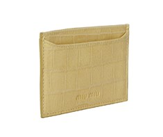 Miu Miu Beige Croc Credit Card Holder