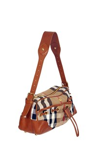 Burberry Checked Canvas Medium Shoulder Bag