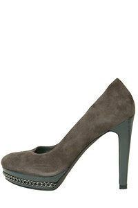 Via Montenapoleone Grey Suede Chain-Embellished Pumps