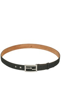 Fendi Black Logo Belt with Silver Buckle