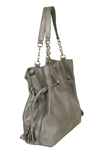 Calvin Klein Grey Striped Shoulder Bag