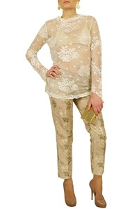 R.E.D. Valentino Brocade Trousers in Golden Shades