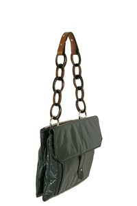 Marni Forest Green Leather Bag with Acetate Chain