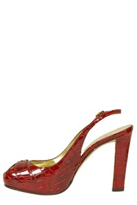 Dsquared Burgundy Croc Slingbacks