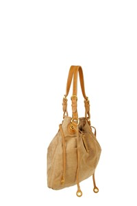 Car Shoe Beige Suede Shoulder Bag
