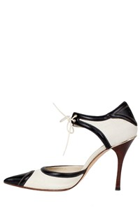 Gucci Two-Toned Canvas and Leather Pumps