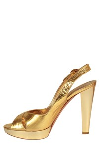 Casadei Gold Slingbacks