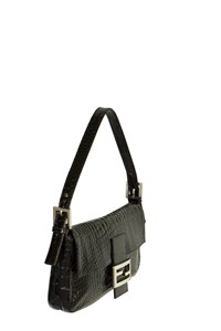Fendi Baguette Black Baby Croc Shoulder Bag