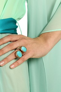 Kenneth Jay Lane Silver Turquoise Stone Ring