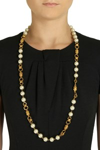 Chanel Golden Pearl-Embellished Necklace