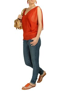 Chloe Burnt Orange Silk-Chiffon Top