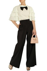 Donna Karan Black Pleated Wide-Leg Trousers