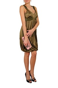 Galliano Olive Green Satin and Velvet Dress