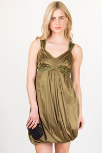 Galliano Olive Green Satin and Velvet Dress / Size: 42 IT - Fit: S