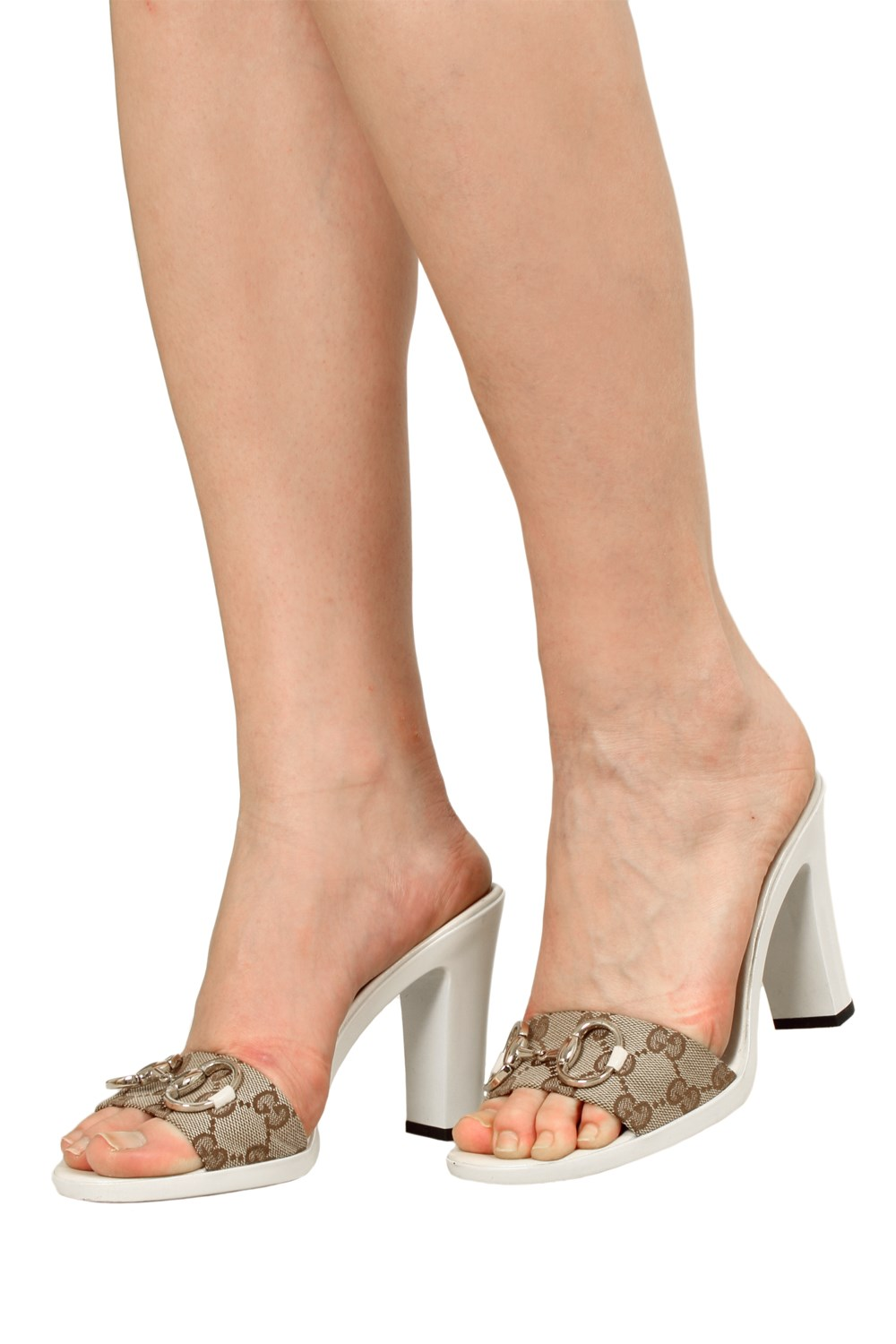 gg canvas white mules with horsebit mules high heeled