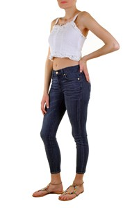 Seven for all Mankind Blue Cropped Skinny Jeans