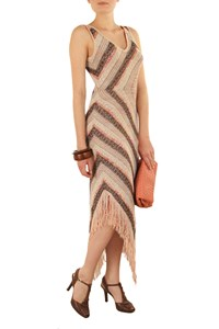 M Missoni Multicolored Knitted Fringed Dress