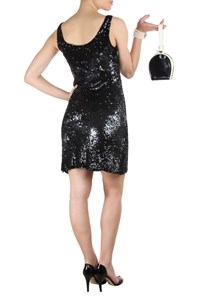 Jenny Packham Black Sequin-Embellished Dress