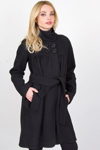 Hoss Black Wool Coat with Removable Belt / Fit: S