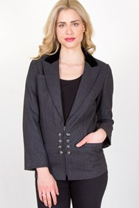 Valentino Grey Wool Jacket with Velvet Collar