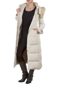 BCBGMAXAZRIA Off-White Quilted Padded Down Long Jacket with Fur Collar