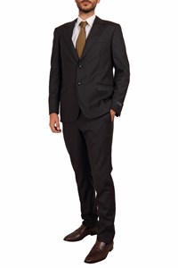 Lanvin Nearly Black Patterned Cool Wool Suit