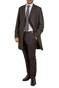 Caruso per Carouzos Charcoal Grey Wool Tweed Coat