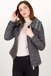 Prada Sport Grey Padded Jacket with Satin Details and Large Collar