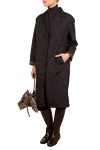 Fendi Jeans Black Raincoat with Leopard-Printed Trim