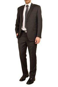 Caruso per Carouzos Charcoal Grey Pinstripe Suit