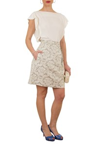 Peter Som Brocade Skirt in Grey and White