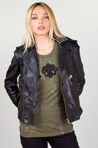 Zadig & Voltaire Perfia Bis Black Leather Studded Biker Jacket / Size: S