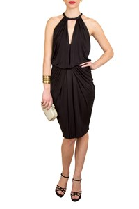 Maje Keys Black Rayon Grecian Dress
