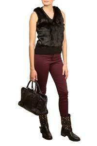 MCQ Black Sleeveless Knitted Fur Top