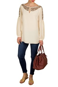 Tory Burch Aaden Silk and Embroidered Tulle Top