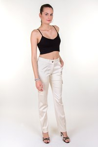 Céline Ivory Cargo Pants with Pockets and Zippers