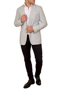 Corneliani ID Light Grey and White Gauffré Blazer