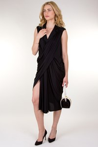 YSL Black Draped Dress with Wrap Effect